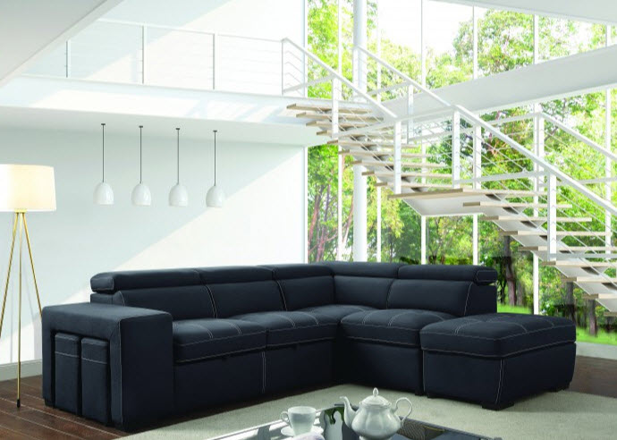 Athene Adjustable Headrest Sectional Sofa With Storage
