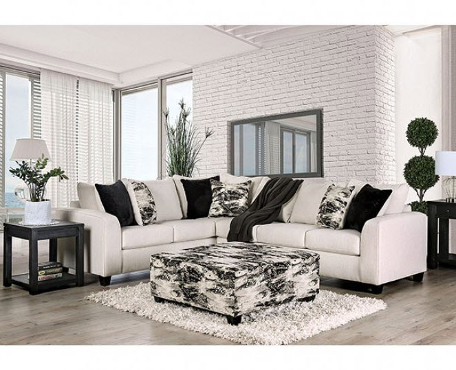 Ivory Sectional W/Ottoman