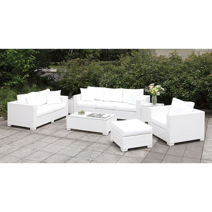 Complete 3 Piece Patio Sofa Set w/ Ottoman, Bench, and End Tables