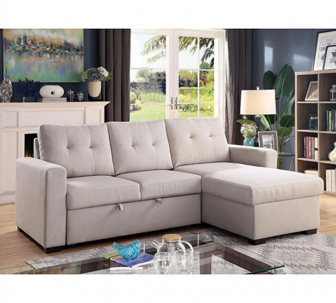 Jacob Button Tufted Sectional Sleeper Sofa