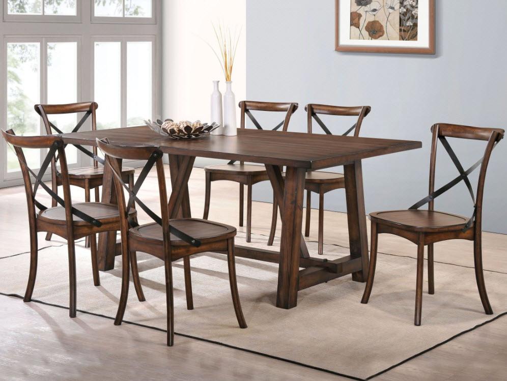 Kaelyn Dark Oak Dining Table Complete Set