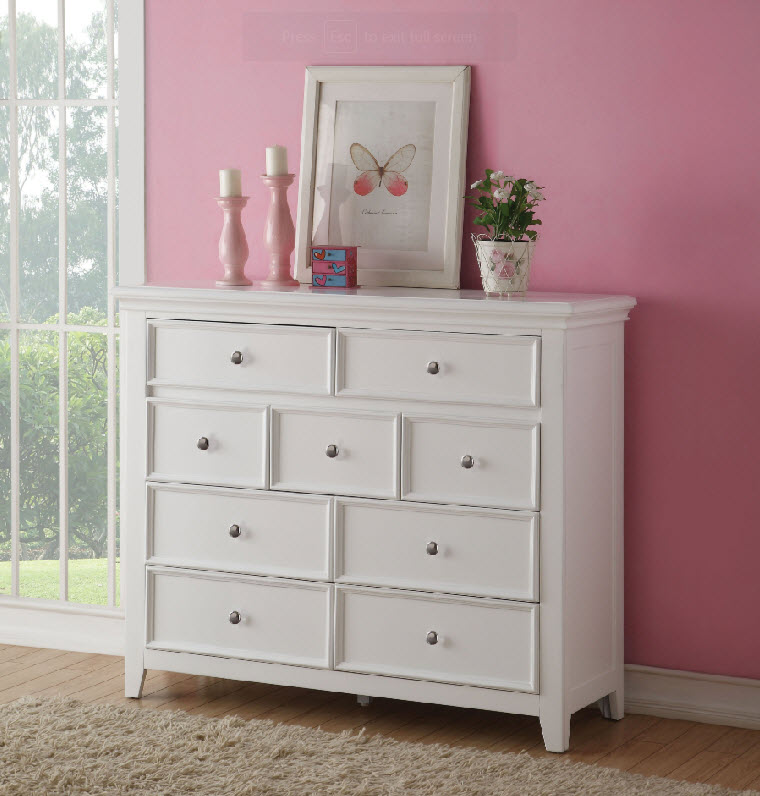 White Nine Drawer TV Console