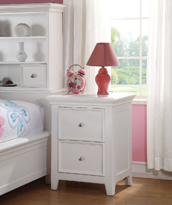 White Two Drawer Nightstand