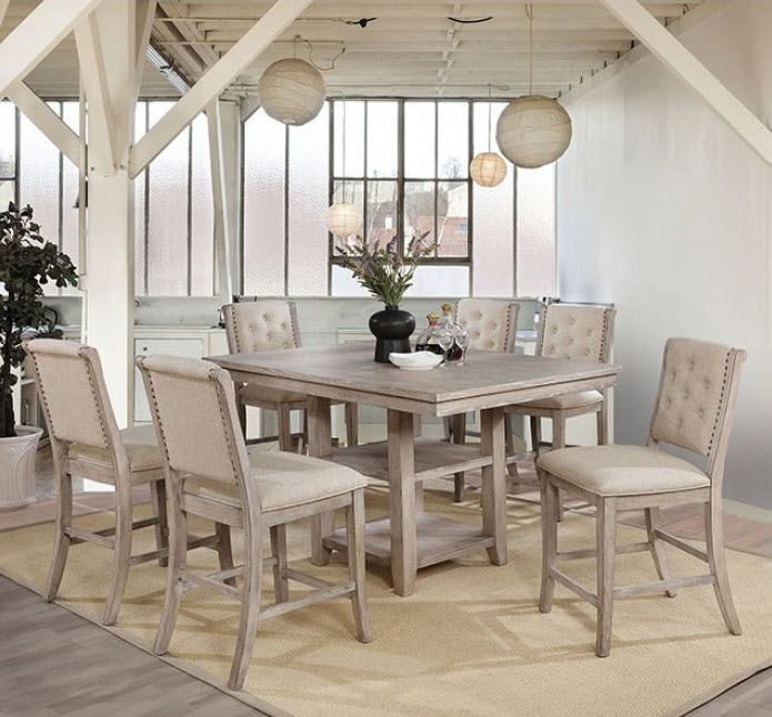 Ledyard Natural Toned Rustic Counter Height Dining Table