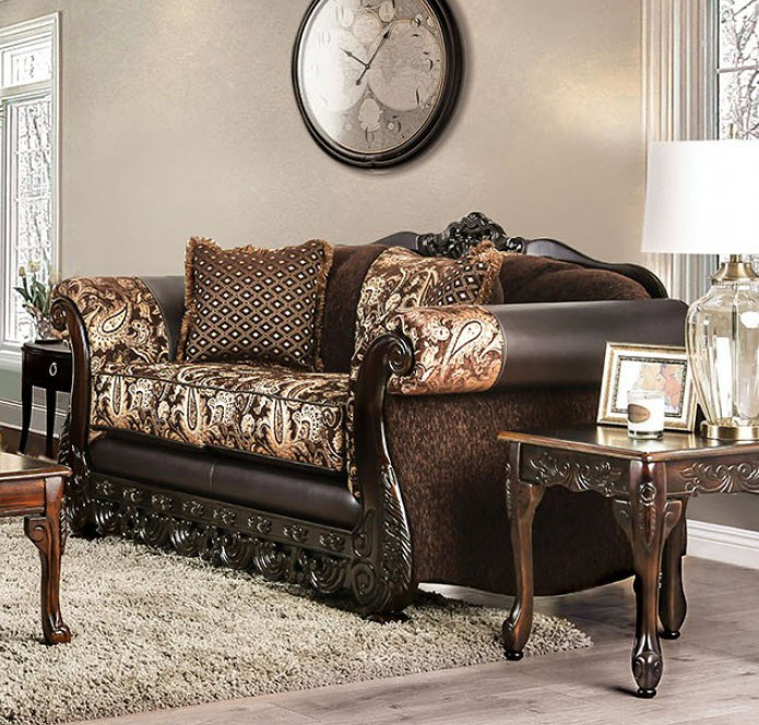 Brown & Gold Loveseat