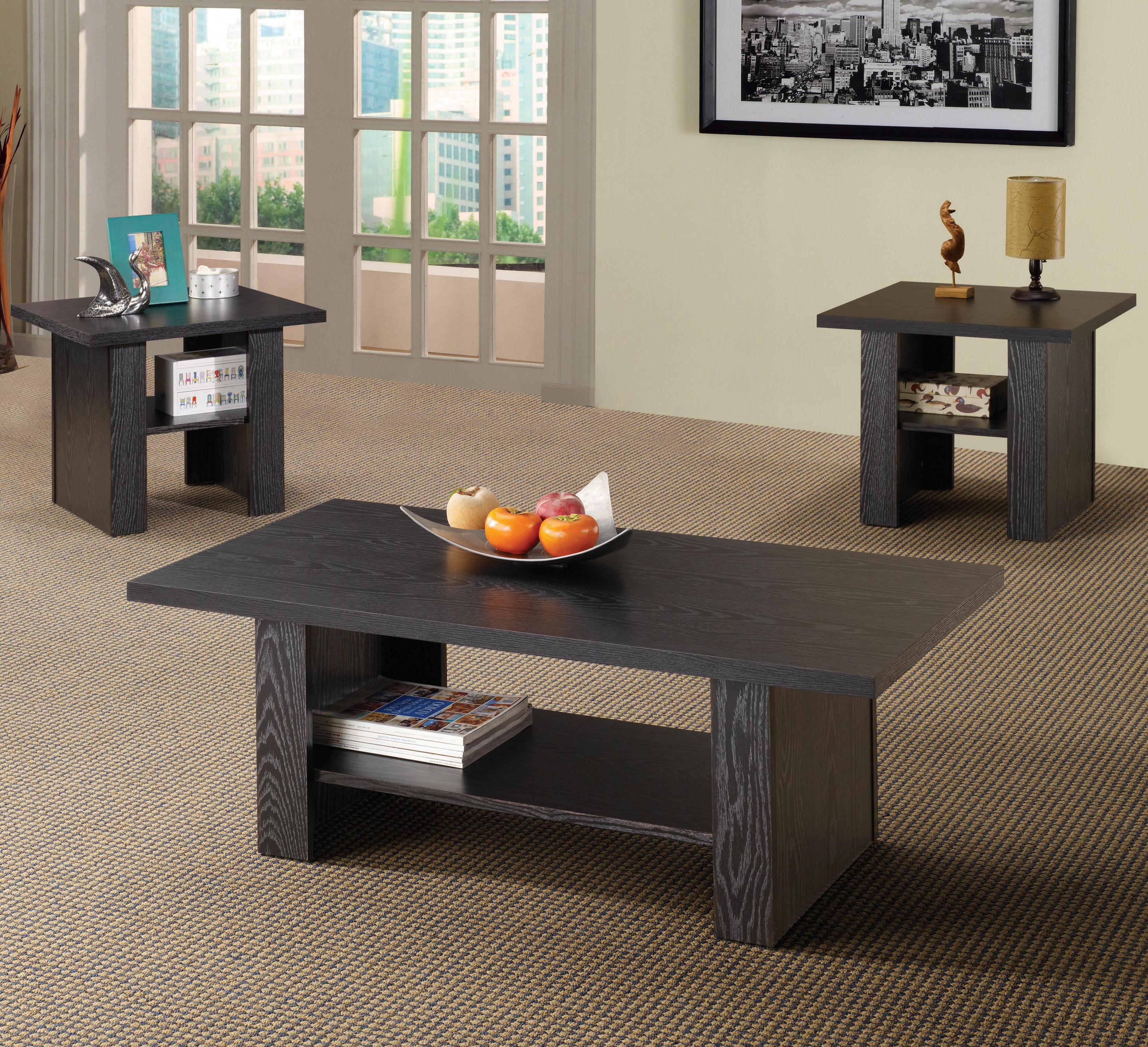 Contemporary 3 Piece Occasional Table Set. Occasional Set : 3 piece black coffee table sets - Pezcame.Com