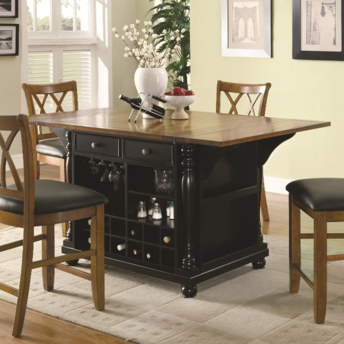 Two Tone Kitchen Island With Drop Leaves Black