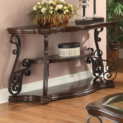 Occasional Group Sofa Table With Tempered Glass Top Ornate Metal