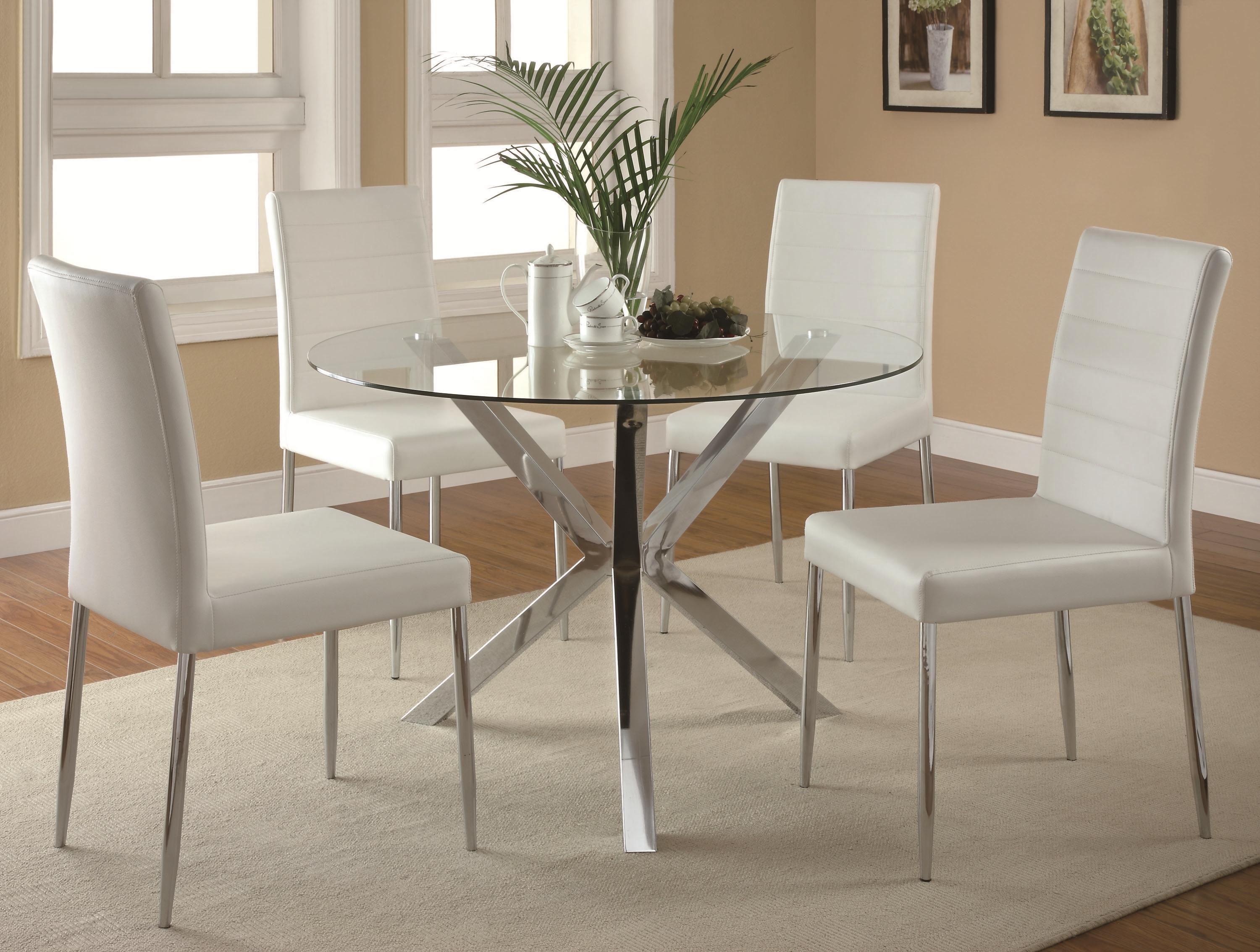 Dining Table With Unique Chrome Base