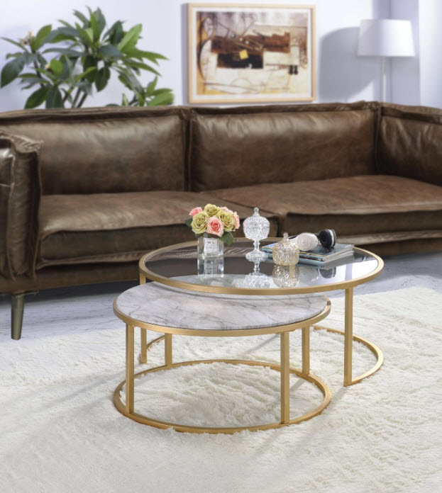 Shanish Faux Marble Gold Nesting Coffee Table