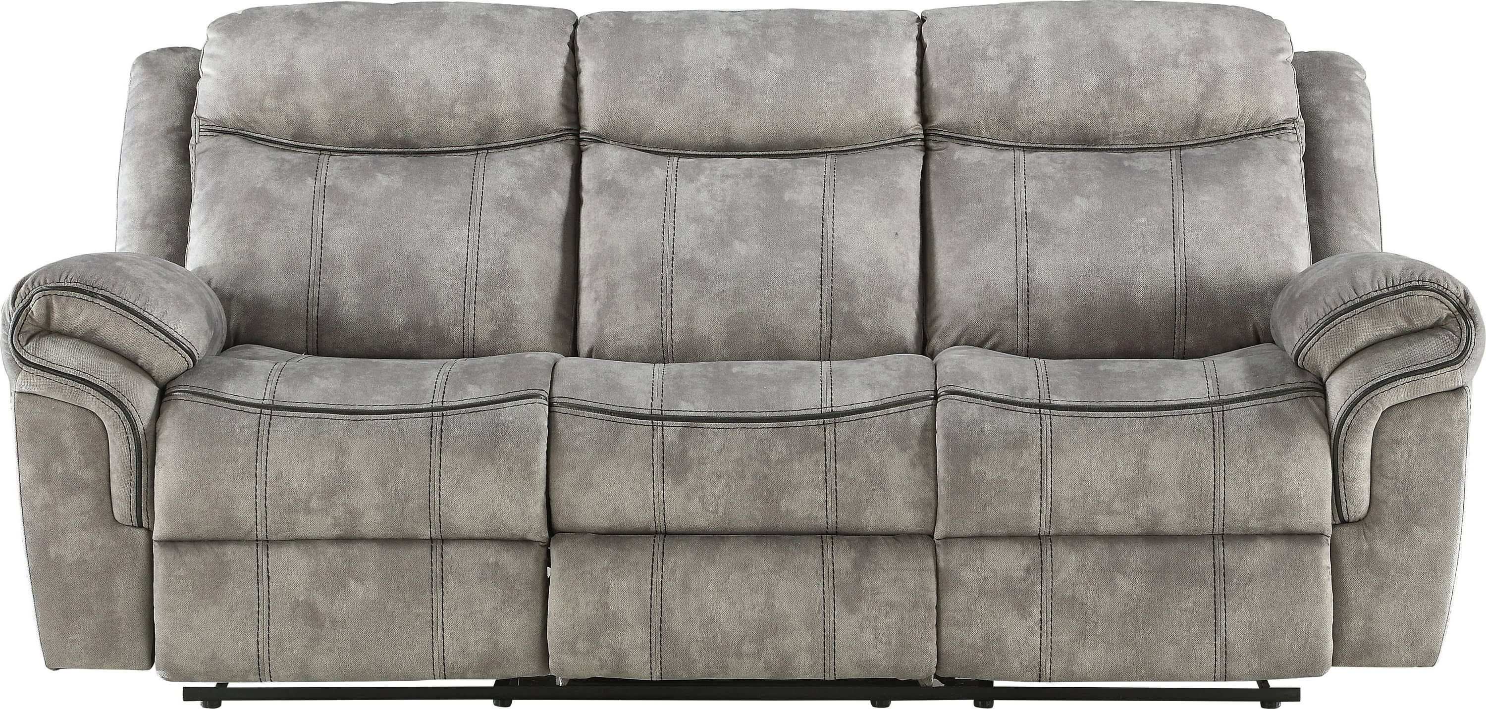 Two Tone Gray Reclining Sofa Front
