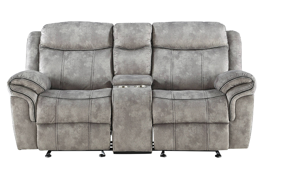 Two Tone Gray Reclining Loveseat Front