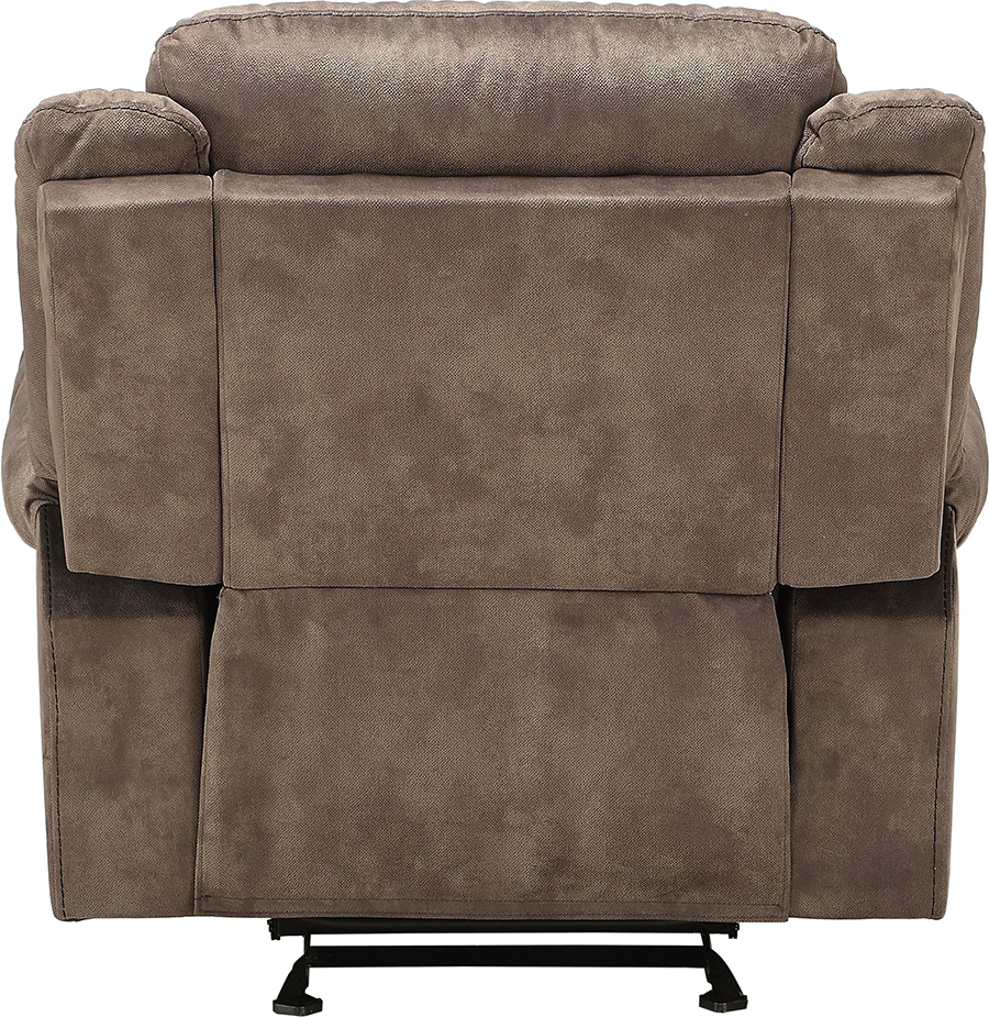 Two Tone Chocolate Glider Recliner Back