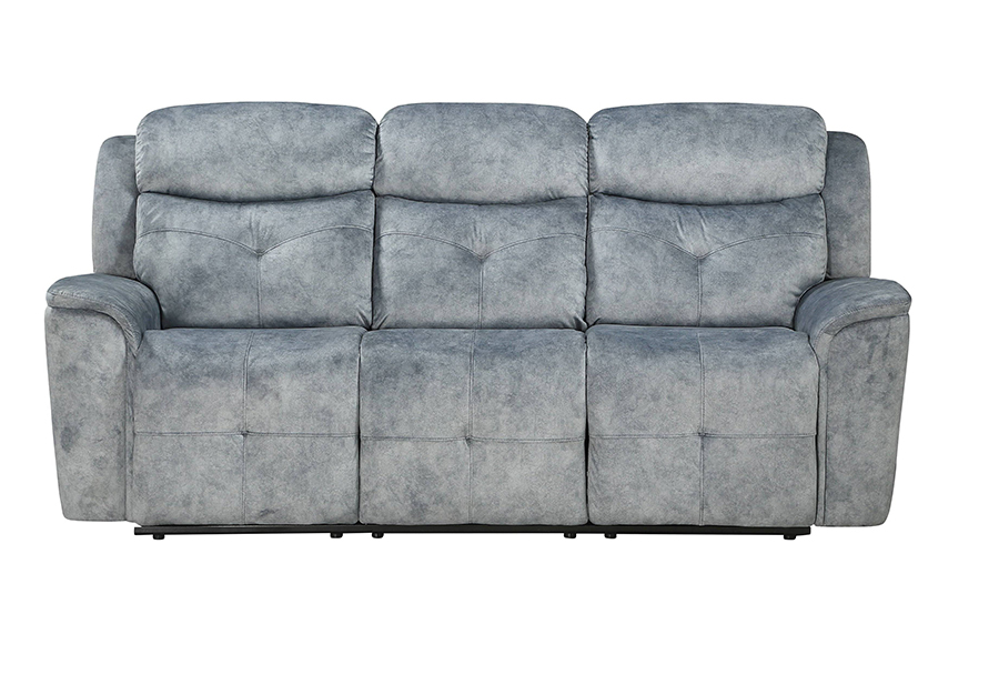 Silver Gray Fabric Reclining Sofa Front