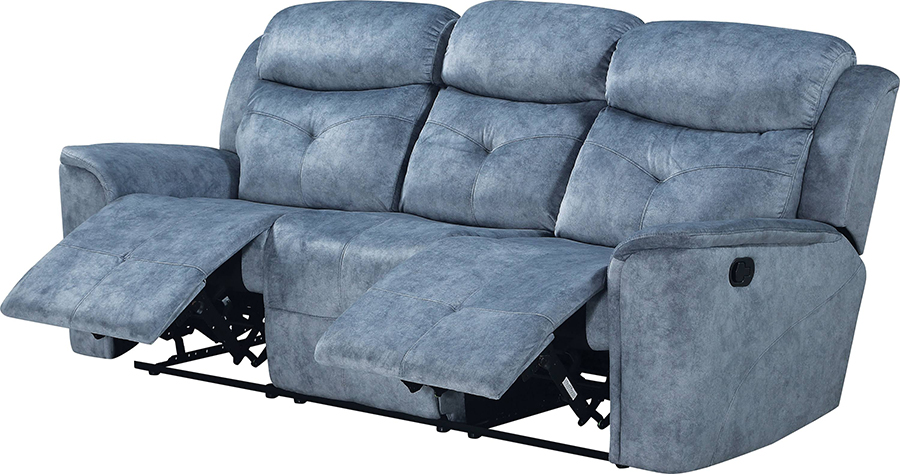 Silver Blue Fabric Reclining Sofa Angle w/ Reclined Seats