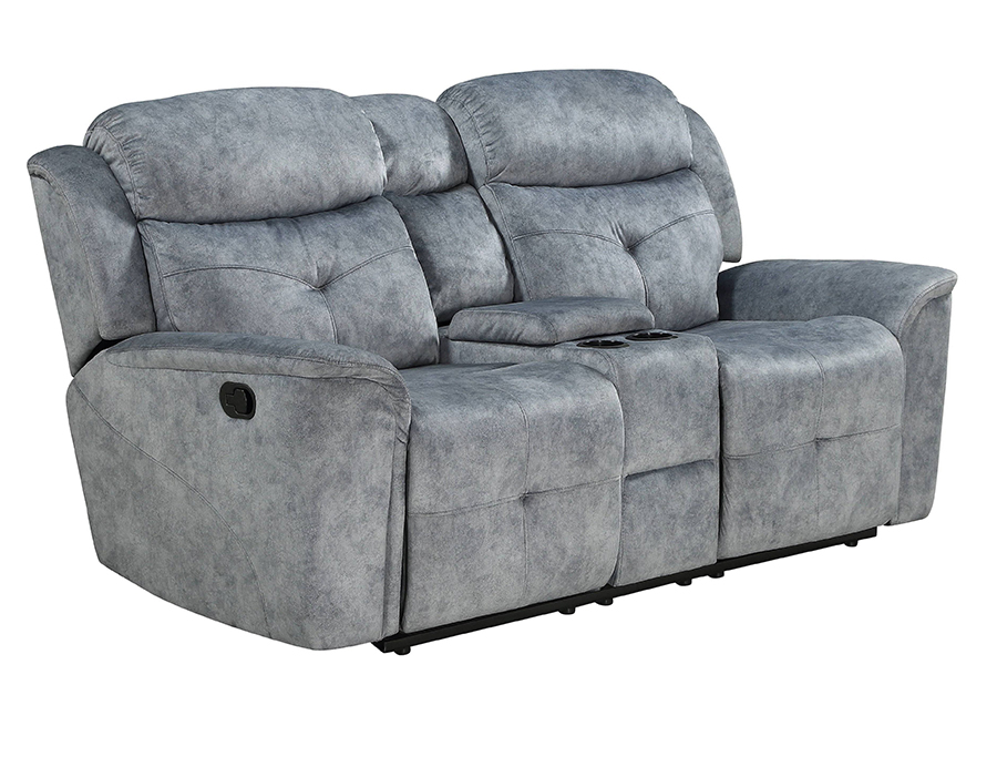 Silver Gray Fabric Reclining Loveseat Angle
