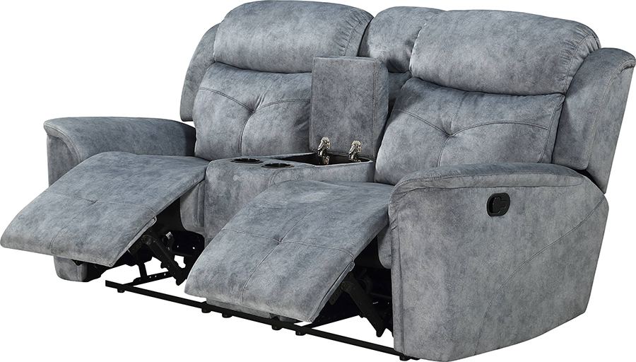 Silver Gray Fabric Reclining Loveseat Angle w/ Reclined Seats & Opened Middle Console