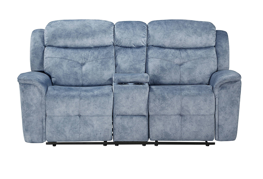 Silver Blue Fabric Reclining Loveseat Front