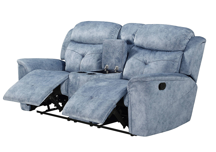 Silver Blue Fabric Reclining Loveseat Angle w/ Reclined Seats & Opened Middle Console