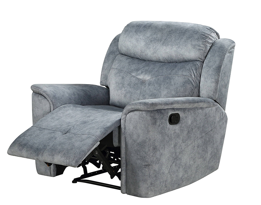 Silver Gray Fabric Recliner Angle