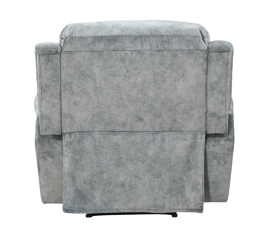 Silver Gray Fabric Recliner Back