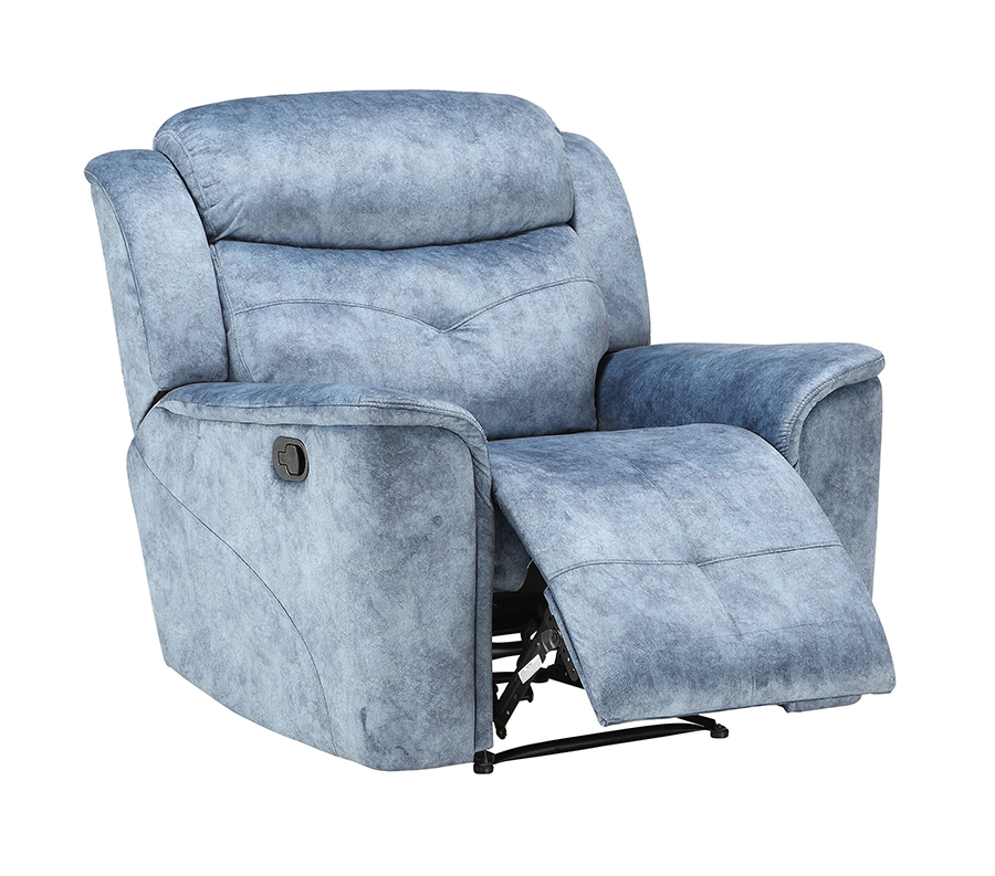 Silver Blue Fabric Recliner Angle