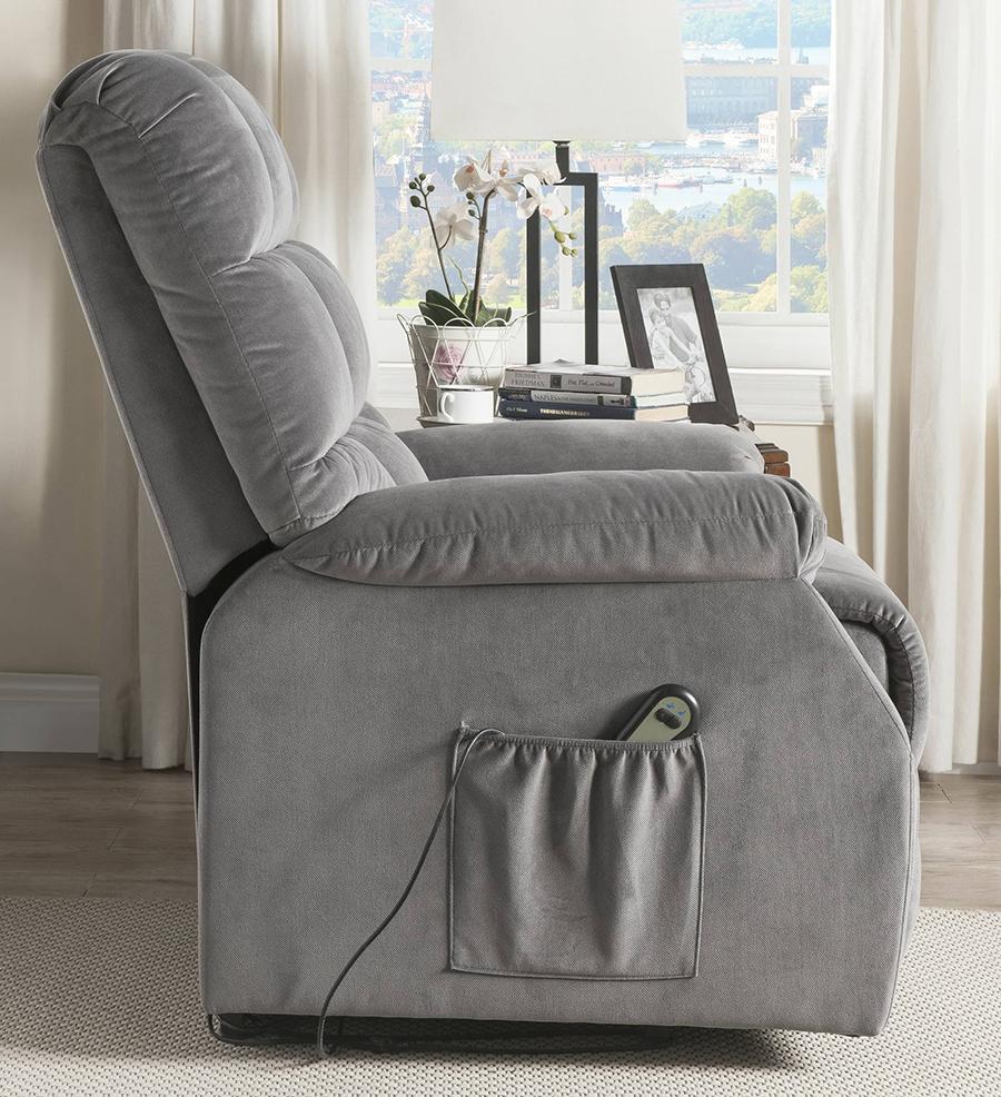 Gray Power Lift Recliner Side w/ Massage Controller