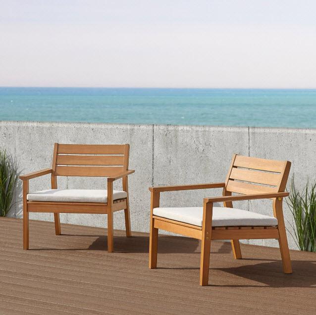 Hale Eucalyptus Wood Patio Chair Set Of 2