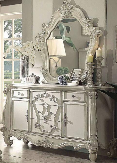 Bone White Dresser W/Mirror