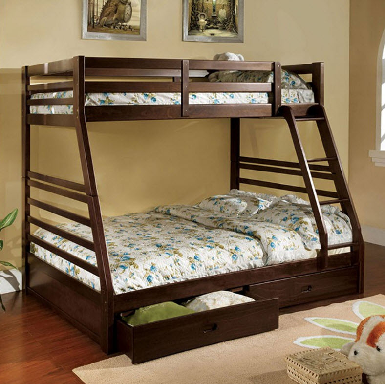 California Iii Bunk Bed Dark Walnut