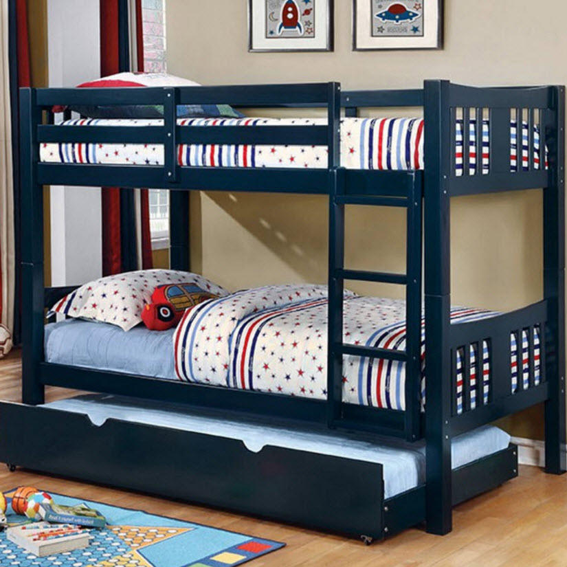 Cameron Twin Twin Bunk Bed Blue