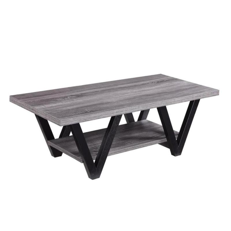 Antique Grey And Black Coffee Table