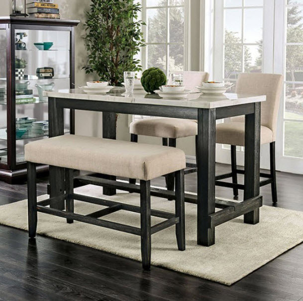 Brule Genuine Marble Top Counter Height Dining Table