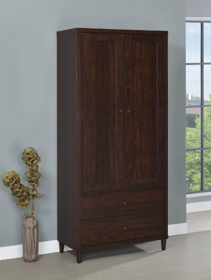 Tall Brown Accent Cabinet With Doors