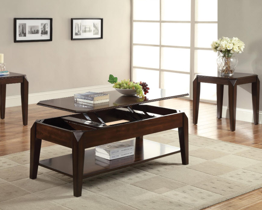 Awesome Docila Walnut Lift Top Coffee Table Ocoug Best Dining Table And Chair Ideas Images Ocougorg