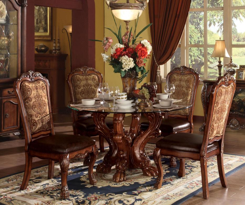 Dresden Cherry Oak Glass Top Dining Table