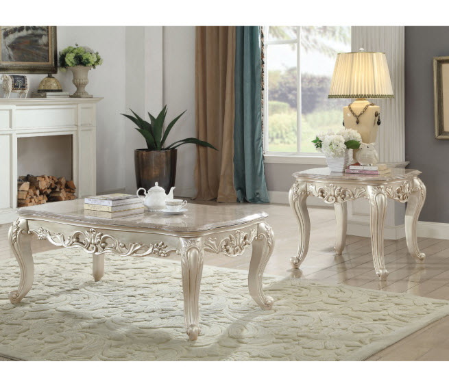 Gorsedd Traditional Marble Top Coffee Table