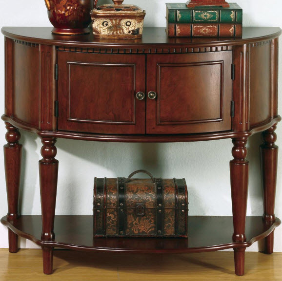 Curved Console Table With Inlay Shelf