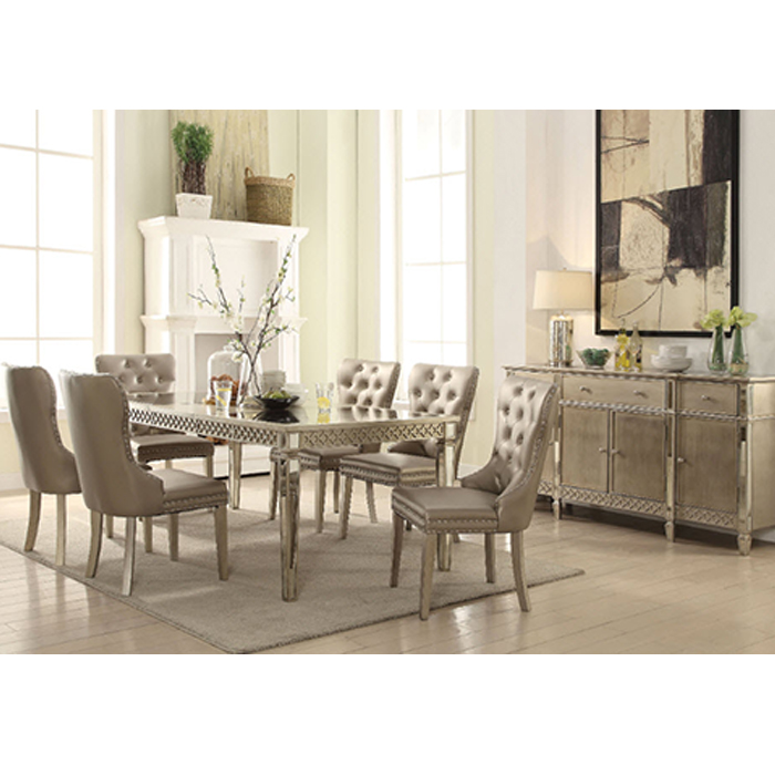 Kacela Champagne Mirror Insert Dining Table
