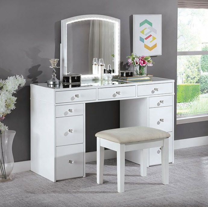 Louise Transitional White 2 Piece Complete Vanity Set