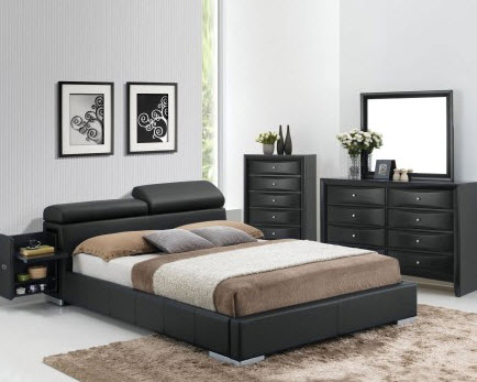 best loved 5e5e8 888cf Manjot II Contemporary Bed With Built-In Nightstand