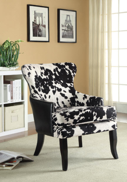 Fine furniture san diego living room accent chairs noah cow pattern accent chair for Living room furniture san diego